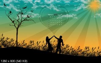 Обои на kards.qip.ru - День Валентина - Влюбленная пара - Закачка.